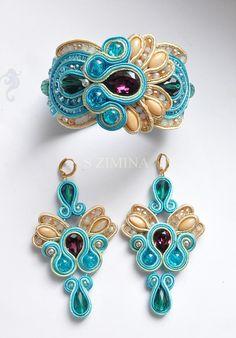 Soutache matching earrings and bracelet. Ribbon Jewelry, Boho Jewelry, Jewelry Crafts, Jewelery, Handmade Jewelry, Jewelry Design, Women Jewelry, Unique Jewelry, Soutache Bracelet