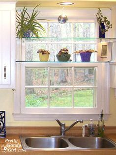 diy glass shelves in front of kitchen window, shelving ideas, See through glass window shelves allow light in and give you a spot to set your plants Kitchen Redo, New Kitchen, Kitchen Small, Small Kitchens, Kitchen Plants, Kitchen Ideas, Glass Kitchen, Kitchen Corner, Awesome Kitchen