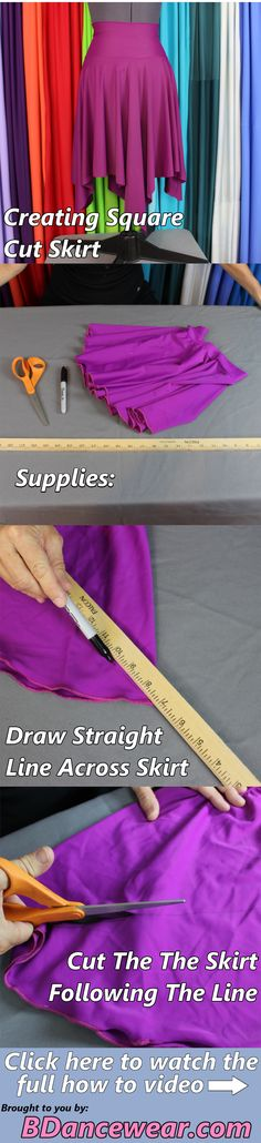 How to create a square cut skirt for a dance costume.