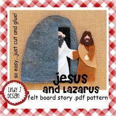 Jesus and Lazarus Bible Story Flannel/Felt Board .PDF Pattern. $5.00, via Etsy.