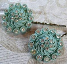 Vintage Bridal Aqua Blue Celluloid Bobby Pins