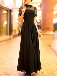 Simple A-line Short Sleeve Crew Neck Chiffon Maxi Dress - StyleWe.com