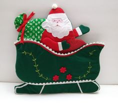 House of Hatten Christmas Santa Claus Sleigh Holiday Card Hanging Fabric Holder  #HouseofHatten