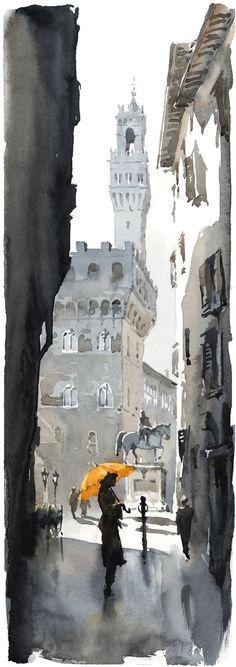 sunlight from the left. shaded alley. splash of yellow. Firenze - Scorcio | Igor Sava - Поиск в Google