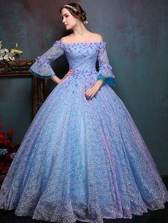 Vintage Lace Long Trumpet Sleeves Applique Off Shoulder Neck Lace-up Floor Length Ball Gown Dress