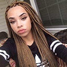 ; @xocub_ Blonde Box Braids, Black Girl Braids, Girls Braids, Box Braids Hairstyles, Girl Hairstyles, Curly Hair Styles, Natural Hair Styles, Individual Braids, Box Braids Styling