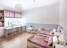 Kinderzimmer Wandgestaltung Ideen Tapete Herzen Muster Maedchen