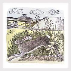 Home Run by Angela Harding, rabbit, hare, nature, printmaking, lino, wood cut, print, spring, editorial, illustration