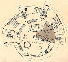 All Plastic House, Schein. Organic Architecture, Architecture Plan, Architecture Organique, Circular Buildings, Kindergarten Design, Architecture Concept Drawings, Vintage House Plans, House Front Design, House Drawing