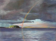 """End of the Rainbow (""""Clouds over Saranac"""" series). Oil painting by Peter Barnett."""