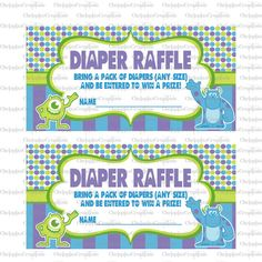monsters inc. baby shower | INSTANT DOWNLOAD- Monsters Inc Baby Shower Diaper Raffle Tickets