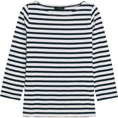 J.Crew Striped cotton-jersey top (£28) ❤ liked on Polyvore featuring tops, shirts, long sleeve tops, sweaters, clothing - ls tops, navy, navy striped top, navy top, navy blue shirt and navy blue long sleeve shirt
