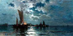 Ships in Moonlight - Thomas Moran Oil on canvas Hudson River School Paintings, Thomas Moran, Moonlight Painting, Victorian Art, Moon Art, Paintings For Sale, Art World, Painting Inspiration, American Art
