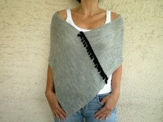 Gray Poncho with Pom Pom Fringe Knit Womens Shawl by bysweetmom, $64.00