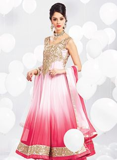 Baby Pink long Indian anarkali churidar kameez in georgette D15310