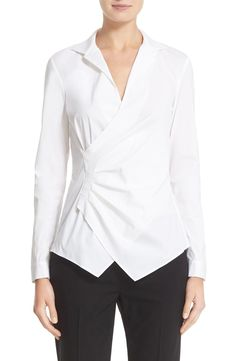 Lafayette 148 New York 'Iconic Collection - Odetta' Stretch Cotton Blouse available at #Nordstrom