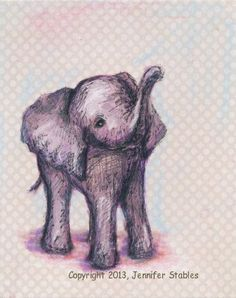 Pink and grey nursery Elephant Art, Children's Wall Art, Nursery Art: Sweet Baby Elephant- hand signed art print on Etsy, $23.00 CAD