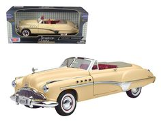 1949 Buick Roadmaster Cream 1/18 Diecast Model Car by Motormax - Brand new 1:18 scale diecast model of 1949 Buick die cast model car by Motormax. Has steerable wheels. Brand new box. Rubber tires. Has opening hood, doors and trunk. Made of diecast with some plastic parts. Detailed interior, exterior, engine compartment. Dimensions approximately L-11, W-6, H-5 inches. Please note that manufacturer may change packing box at anytime. Product will stay exactly the same.-Weight: 4. Height: 8…