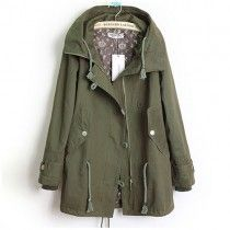 Army Style Cool Solid Color Strap Button Hood Trench Coat