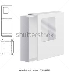 Vector Illustration of Clear dieline Folding Carton Box with window for Design, Website, Background, Banner. White Package Template isolated on white. Retail pack with diecut for your brand on it