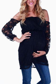 Black Lace Open Shoulder Maternity Tunic #maternity #fashion