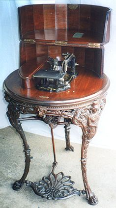 ❤✄◡ً✄❤  Known as the Britannia No.4 model, this Wheeler Wilson type was but one more example of this company's penchant for ornate treadle design. Circa 1870. - http://www.dincum.com/library/lib_britannia_no4.html