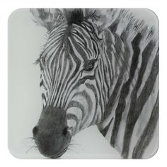 Zebra Glass Coaster by British artist Sarah Boddy. Features a beautiful illustration of a chimp on our hardwearing recycled glass coaster. The lovely black and white artwork makes it a striking addition to any home! Great Gifts For Dad, Gifts For Him, Swinging Safari, Black And White Artwork, Animal Decor, Safari Animals, Recycled Glass, Zebras, Animal Design
