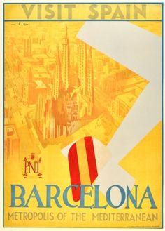 Original Vintage Posters -> Travel Posters -> Barcelona Visit Spain Art Deco Airplane - AntikBar