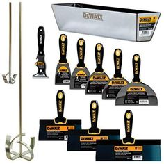 Give your masonry applications a quick update by using this DEWALT Deluxe Blue Steel Drywall Hand Tool Set with Soft Grip Handles. Hand Tools List, Garage Atelier, Dewalt Power Tools, Cheap Power Tools, Hand Tool Sets, Woodworking Books, Woodworking Workbench, Woodworking Projects, Woodworking Square