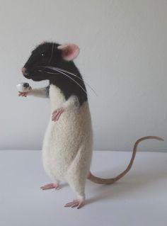 Rat With Cup Collectible Felt Mouse Toys Pet portrait Poseable figurine Life Size Animal Felt Mouse, Felt Cat, Felt Animals, Baby Animals, Cute Rats, Pet Memorials, Soft Sculpture, Pet Portraits, Needle Felting