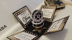 debut ideas Invitacin Xv Aos Hollywood Modelo (Otros) a MXN 48 en . Box Invitations, Handmade Invitations, Invitation Card Design, Red Carpet Theme, Red Carpet Event, Hollywood Invitations, English Festivals, Hollywood Theme, Hollywood Style