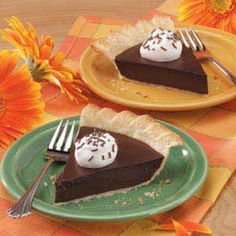 Old-Fashioned Chocolate Pie Recipe ~ Rich and oh-so-chocolaty, this silky pie is a cinch to prepare. The mouthwatering filling and flaky crust are an unbeatable combination thats sure to make this pie one of your familys favorite desserts, too.—Nancy Horsburgh, Everett, Ontario