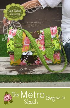 """The Metro Slouch Bag Pattern (14"""" wide, 10"""" high,  5"""" deep)"""