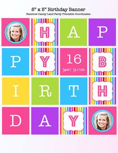 5 x 5 Inch Rainbow / Candy Land Themed Birthday Banner Party Printable