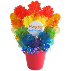"""Rainbow Birthday Bouquet! What's at the end of this rainbow? A """"Happy Birthday"""" wave lollipop! This floral rainbow lollipop bouquet will brighten any birthday celebration filled with all vibrant colors in flavors of watermelon, cherry, tangerine, lemon, cotton candy and grape. 22 lollipops. #diy #basket #candy #happybirthday #gift"""