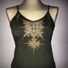 Bleached out Moroccan inspired henna design on army green camisole