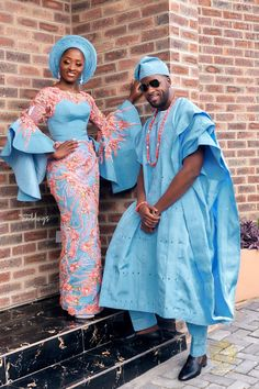 African fashion for men has come a long way. Today, we have a wide selection of amazing African clothing for men that are available in different designs, colors, styles, and fabrics. Nigerian Wedding Dresses Traditional, Traditional Wedding Attire, African Traditional Wedding, African Traditional Dresses, Traditional Outfits, Traditional Weddings, Couples African Outfits, African Clothing For Men, Couple Outfits