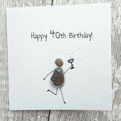Birthday card- Pebble Art - Stick man/Woman- prosecco Champagne bubbles card Birthday Wishes - Steinbilder - Brille Happy Birthday 23, Diy Birthday, Card Birthday, Birthday Greeting Cards, Birthday Greetings, Birthday Wishes, Sea Glass Crafts, Sea Glass Art, Seed Bead Tutorials