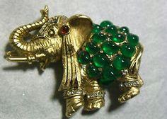 Hattie Carnegie Emerald Poured Glass Cabochons Rhinestone Elephant Brooch | eBay