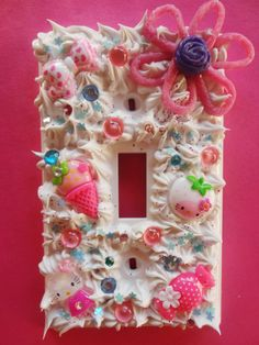 Kawaii Decoden Light Switch Cover Pink by DreamyPlastic on Etsy, $12.00
