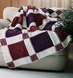 """This crocheted blanket is an original design that is easy to complete. The blanket is made up of squares with X's and O's. The entire blanket requires only three crochet stitches - chain stitch, single crochet and the popcorn stitch. The pattern includes the instructions, a list of materials and the yarn amounts needed for a finished blanket approximately 53"""" x 60"""". The pattern can be customized to your own color choices."""