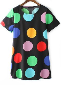 Black Short Sleeve Polka Dot Straight Dress