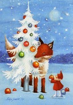 Katja Saario Illustration Art, Art Illustrations, Christmas Greetings, Santa, Foxes, Painting, Artists, Inspiration, Future