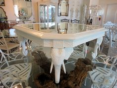 Hollywood Regency FRETWORK Elephant Coffee Table for the Living Room :)