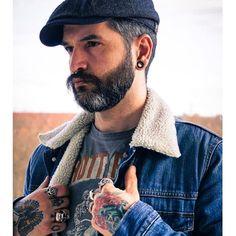 "DENIM DAYS ""Indifferent"" #denim #jeans #jeansjacket #flatcap #cap #itsastetson #oldschool #vintage #beard #beardgang #tattoos #tattoo #bart #barba #piercing #piercings #septum #menstyle #gentleman #rebel #inked #YesWrangler #dapper #silverfox #sober #portrait #ootd #instadaily #0711 #stuttgart"
