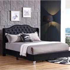Rosdorf Park Colbourne Upholstered Panel Bed Size: King, Color: Black