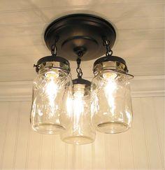 Bocal à conserves luminaire Trio de pintes Vintage par LampGoods