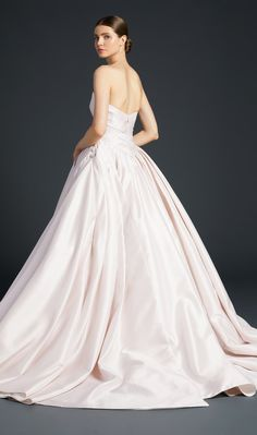 ROMERO – Anne Barge, Pointed strapless ballgown of Kalika with intricate pleating accented by oversized covered buttons and bound button holes. Anne Barge Wedding Dresses, Elegant Wedding Dress, Perfect Wedding Dress, Bridal Wedding Dresses, One Shoulder Wedding Dress, Bridal Suite, Bridal Salon, Fall Dresses, Bridal Collection