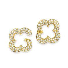 Pair of Gold and Diamond Earclips, Van Cleef & Arpels