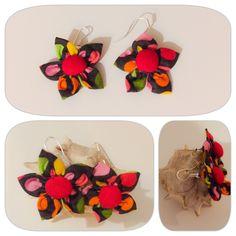 Boucles d oreilles style dormeuse fleur en tissu. Dans la collection girly pop : Boucles d'oreille par bazaracaro